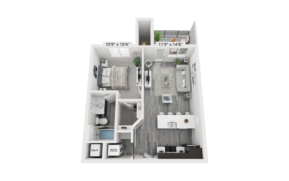 Holbrook 1 bedroom 1 bath 585 sq.ft.