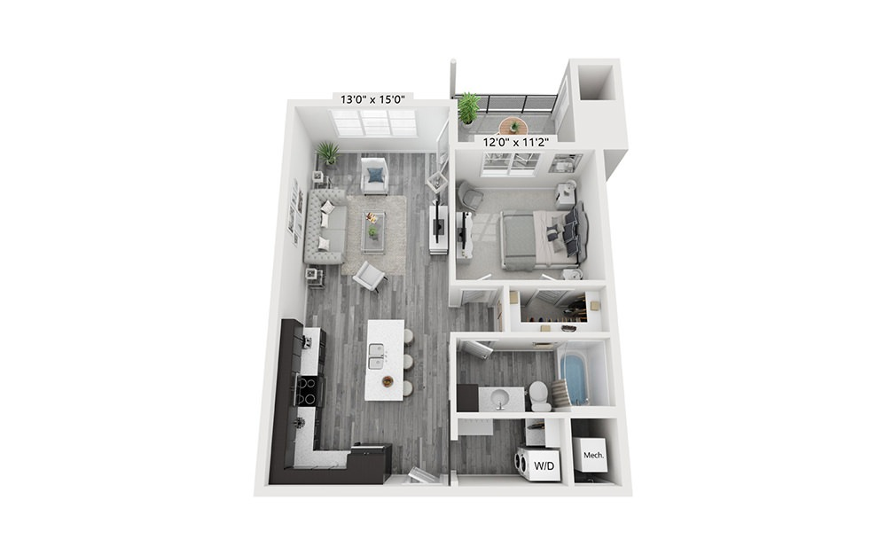 The Maxwell - 1 bedroom floorplan layout with 1 bath and 745 square feet.